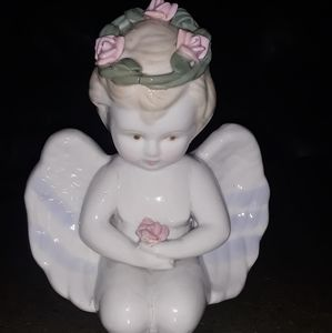 Vintage Antique Kneeling Porcelain Angel Figurine